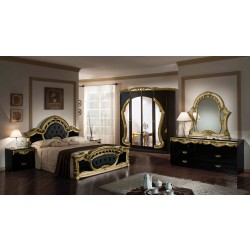 Modrest Rococo - Italian Classic Black and Gold Bedroom Set