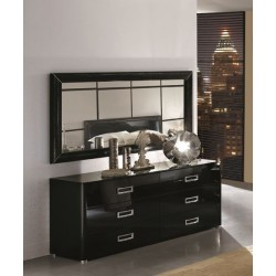 LA STAR - Modern Black Double Dresser