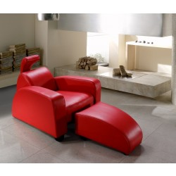 Divani Casa Rosso - Modern Leather Lounge Chair & Ottoman