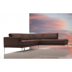 Dima Mirage Modern Brown Leather Sectional Sofa - Made In Italy