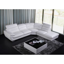 Divani Casa Miracle - Contemporary White Eco-Leather Sectional Sofa