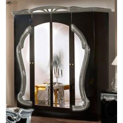 Modrest Rococo - Italian Classic Black-Silver Bedroom 4-Door Wardrobe