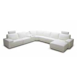 Divani Casa Cypress - Modern White Eco-Leather Sectional Sofa with Headrests and Beverage Console