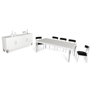 A&X Baccarat Transitional White Crocodile Dining Set