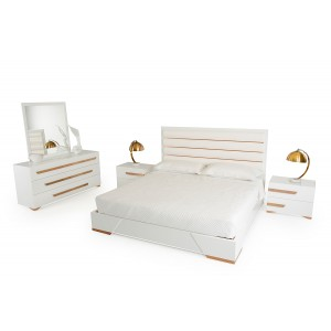 Nova Domus Juliet Italian Modern White & Rosegold Bedroom Set