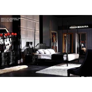 A&X Gothic Black Crocodile Lacquer Four Poster Bed