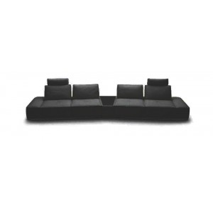 Divani Casa Orchid - Contemporary Black Italian Leather Sectional Sofa