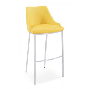Modrest Jayce Modern Yellow Leatherette Bar Stool