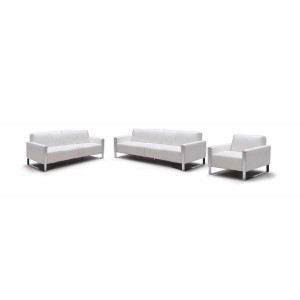 Divani Casa Iris Modern White Leather Sofa Set