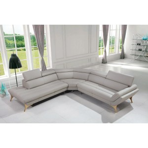 Divani Casa 1541 Modern Grey Leather Sectional Sofa