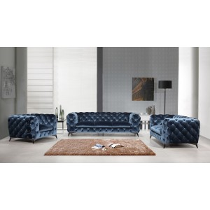 Divani Casa Delilah Modern Blue Fabric Sofa Set