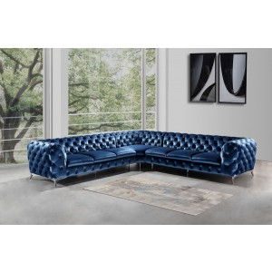 Divani Casa Delilah Modern Blue Fabric Sectional Sofa