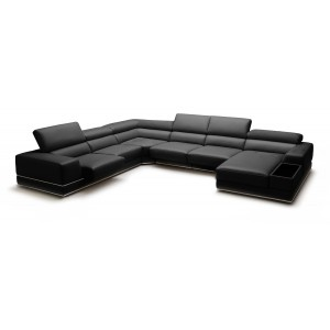 Divani Casa Chrysanthemum Modern Black Leather Sectional Sofa