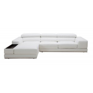 Divani Casa Chrysanthemum Mini Modern White Leather Sectional Sofa
