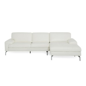 Divani Casa Tansy - Modern White Leather Sectional Sofa with Chaise
