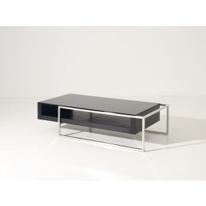 Modrest Garnet Modern Black Oak and Glass Coffee Table