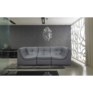 Divani Casa 207 Modern Grey Bonded Leather Sectional Sofa