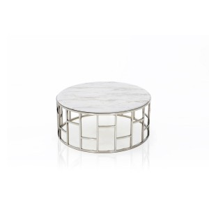 Modrest Silvan Modern Marble & Stainless Steel Coffee Table