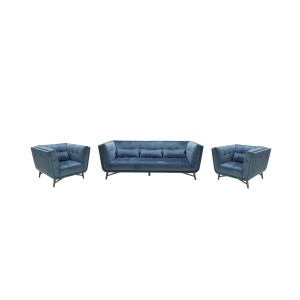 Divani Casa Moraine Modern Blue Velour Sofa Set