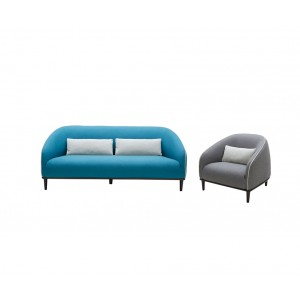 Divani Casa Amisk Modern Teal & Grey Fabric Sofa & Chair Set