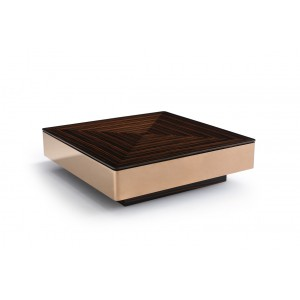 Modrest Larice Modern Square Ebony & Rosegold Coffee Table