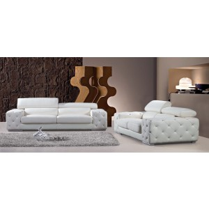 Divani Casa 2726B Modern Tufted Leather Sofa Set with Headrests and Crystals