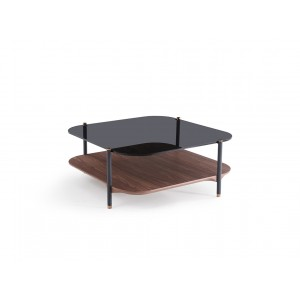Modrest Toby Modern Smoked Glass & Walnut Coffee Table
