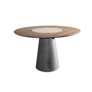 Modrest Alanna Modern Round Walnut Dining Table w/ Lazy Susan
