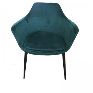 Modrest Wilson Modern Teal Velvet & Black Dining Chair