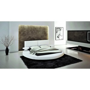 Modrest Atlas - Modern White Bonded Leather Round Bed