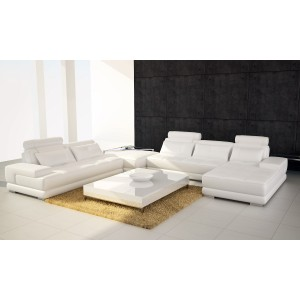 Divani Casa Phantom Modern White Leather Sectional Sofa w/ Ottoman and Glass End Table