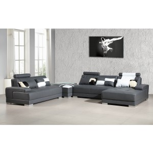 Divani Casa Phantom - Modern Grey Bonded Leather Sectional Sofa w Ottoman and Glass End Table