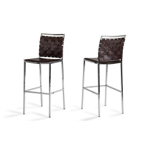 Shasta - Modern Brown Eco-Leather Bar Stool (Set of 2)