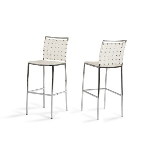 Shasta - Modern White Eco-Leather Bar Stool (Set of 2)