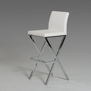 Modrest Dean Modern White Leatherette Bar Stool