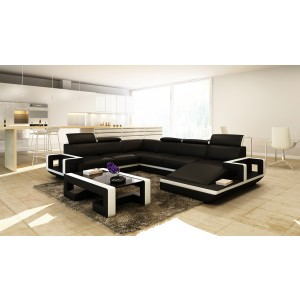 Divani Casa 5102 Modern Black & White Bonded Leather Sectional Sofa