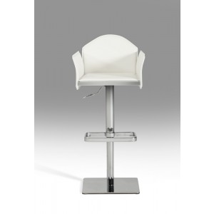 Modrest Emily Modern White Eco-Leather Bar Stool