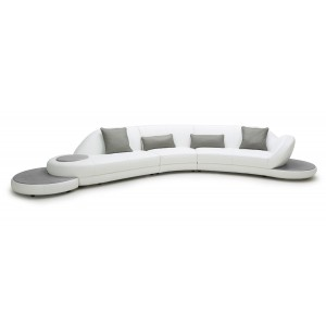 Divani Casa Jesse White & Grey Leather Sectional Sofa