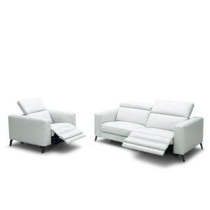 Divani Casa Roslyn Modern White Leather Sofa Set w/ Recliners