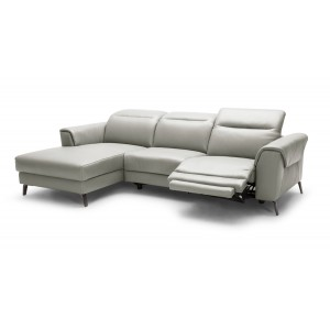 Divani Casa Mosley Modern Grey Leather Sectional Sofa w/ Recliners