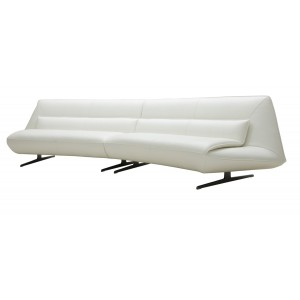 Divani Casa Beckley Modern White Leather Sofa
