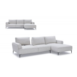 Divani Casa Hero Modern Grey Fabric Sectional Sofa w/ Right Facing Chaise