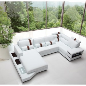Divani Casa Massimo - Contemporary Bonded Leather Sectional Sofa With Light