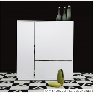 A&X Skyline Modern White Crocodile Lacquer Square Buffet