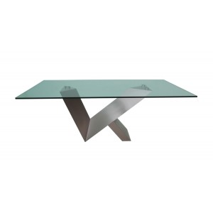 Modrest Harlow Modern Glass & Stainless Steel Dining Table