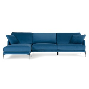 David Ferrari Achen Modern Blue Velvet Fabric Sectional Sofa