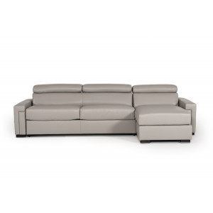 Estro Salotti Sacha Modern Grey Leather Reversible Sofa Bed Sectional w/ Storage
