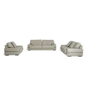 Estro Salotti Evita Modern Grey Leather Sofa Set