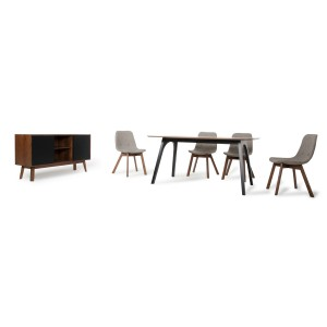 Modrest Laken Modern Walnut & Sesame Dining Set