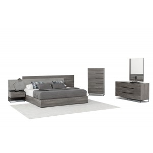 Nova Domus Enzo Italian Modern Grey Walnut & Fabric Bedroom Set